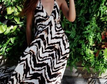 Woman Open Back Maxi/ Summer Dress/ Maxi Chiffon Dress/ Halter Dress/ Maxi Dress/ Boho Dress/ Party Dress/ Long Sexy Dress/ Evening Dress