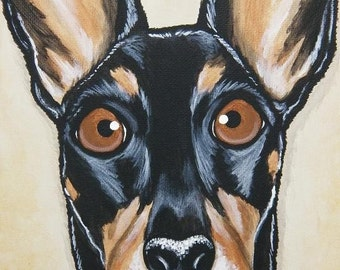 Pet Portrait Painting Custom 8x10 - hand painted, holiday gift, pet lover, pet memorial
