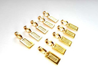 10 Gold Plated Flat Pad Glue On Bails - 16-GB-8