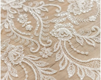 Soft floral lace fabric, wedding lace fabric, bridal lace, Couture Lace, Sequin Lace fabric, Flower lace fabric, wedding dress - (L17-007)