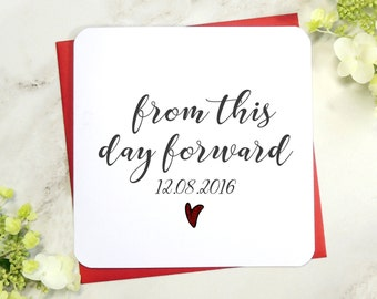 Personalised Wedding Day -  From This Day Forward wedding card, groom card, husband to be card, wife to be card, bride card, UK seller