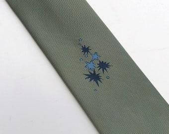 Vintage 50s 60s Skinny Tie Necktie Greenish Gray or Olive with a Blue Star Burst Design