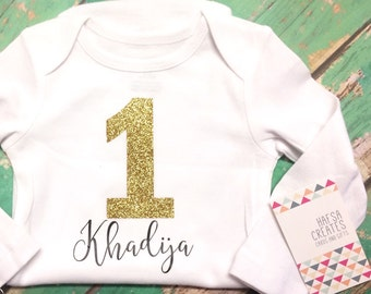 One year birthday bodysuit for children, personalized gift one masha Allah mashallah
