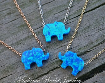 Reconstitute Blue Opal Baby Elephant Necklace, Good Luck Symbol, Good Luck Amulet Necklace