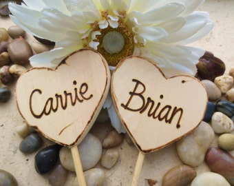 Wedding or Engagement Cake Toppers Personalized with YOUR Names on Each Wood Heart Rustic Chic