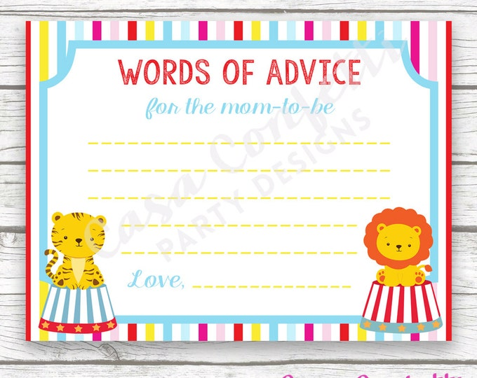Circus Baby Shower Advice for Mom to Be Wishes for Baby Card, Striped Printable Card, Carnival Baby Shower Wishes for Baby, Baby Boy Shower