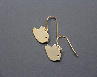 Gold Birds Earrings,  Gold Bird Earring, Everyday Earrings, Wedding Earrings, Bridal Earrings, Bridemaids Gift, JEW000199