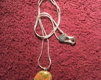 Unakite Bear on a Sterling Silver Snake Chain