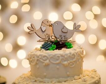 Bird Cake Topper Rustic Wedding I Do Me Too Love birds