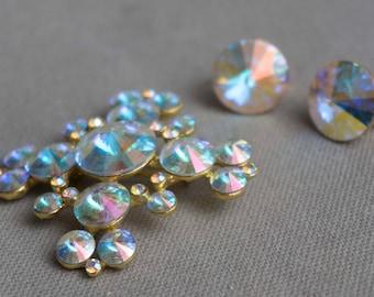 Vintage Signed Weiss Mid Century Rivoli Aurora Borealis Brooch and Earrings Set