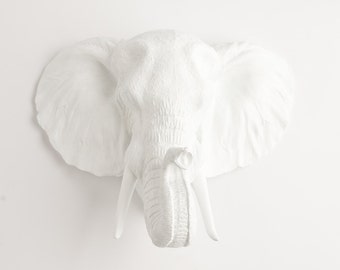 Elephant Head Wall Mount by White Faux Taxidermy - The Tolsby Elephant White Wall Hanging  - Resin Elephant Wall Mount - Fake Animal Head