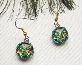 Pink fused glass earrings - Dichroic Earrings - glass Earrings -  Dichroic Jewelry-  Boho- fused glass jewelry - OOAK