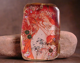 Rustic Resin Pendant, Alphonse Mucha Seasons Series, Mixed Media Focal Bead, Divine Spark Designs, SRA