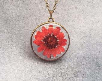 Copper Red Chrysanthemum in an Antique Bronze Slim Open Back Bezel Resin Pendant, Resin Necklace, Pressed Flowers, Valentine's Day