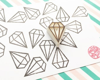 diamond rubber stamp | gemstone stamp | wedding bridal shower birthday card making | diy gift wraps planner | hand carved by talktothesun