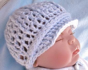 Crocheted Baby Newsboy Cap (Hat) Newborn 0 3 mo