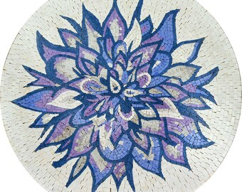 White Medallion Mosaic with Blue and Purple Petals