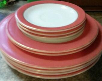 Vintage Pink Rimmed Pyrex Plates