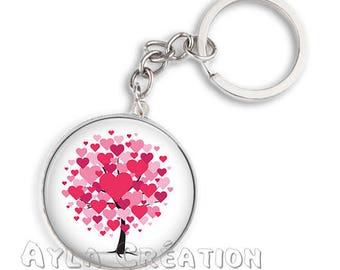 Keyring 25 love 09 mm glass cabochon