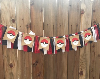 Pokemon, pokeball banner, birthday