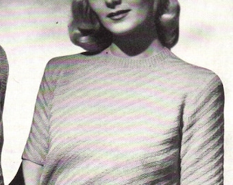 Vintage 1949 Knitted Diagonal Rib Pullover 5107 PDF Pattern / Jack Frost Book 51