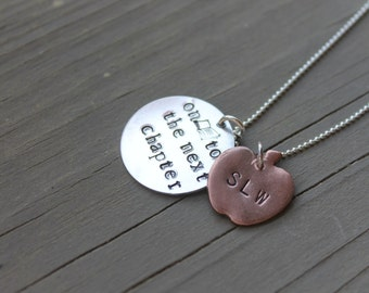 Retirement jewelry, Graduation jewelry, On to the Next Chapter sterling silver necklace, Book jewelry, Teacher gift, Apple necklace