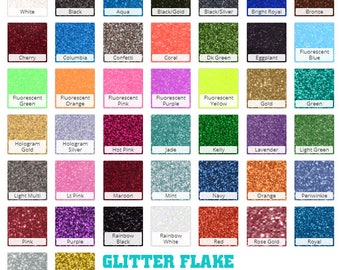 GLITTER Flake HTV Heat Transfer Vinyl Every Color for Shirts Crafts and More! Sparkle Heat Transfer