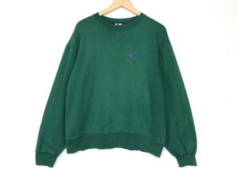 CHAMPION SWEATSHIRT PULLOVER Green Colour Large Size