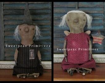 NEW 2017 PDF Instant Download Sewing Pattern Primitive Folk Art Halloween Witch Americana Angel Doll E-Pattern Sweetpeas Primitives