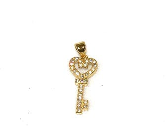 Heart cz set key charm/ pendant