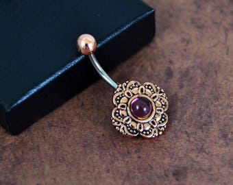 Belly Button Ring Vintage Czech Glass Rose Gold Amethyst Belly Ring 14 gauge Navel Ring