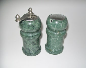 Vintage Marble Salt and Pepper Grinder Varigated Green Marble Kitchen Storage Kitchen Decor