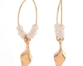 Hoop  Earrings ,Leaf Charm ,White Swarovski Crystals Hoop Earrings , 14k Gold filled Hoop Earrings , Hand Made Earrings ,Statement Earrings