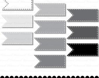Gray Ribbon digital clip art, digital frame, flag scrapbooking, banner, grayscale, black, white stitches : c0099 & v001
