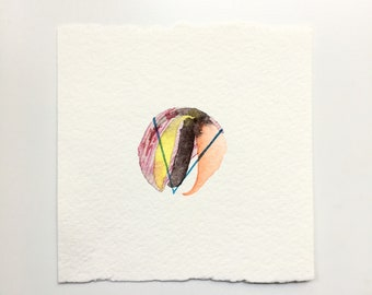 Wood / original tiny watercolor painting / abstract painting / element painting