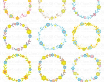 Floral wreath vector - Digital Clipart - Instant Download - EPS, Pdf and PNG files included