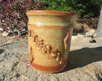 Stoneware Pottery Utensil Holder, Utensil Crock, Kitchen Storage, Spoon Holder
