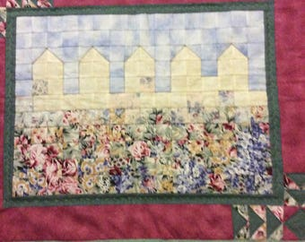 "Quilted wall hanging ""Fences"" Colorwash"
