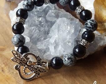 Snowflake Obsidian Bracelet, bracelet, gemstone, unique
