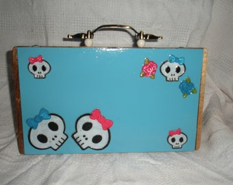 Skulls and Bows Turquoise Blue Cigar Box Purse Ready to Ship