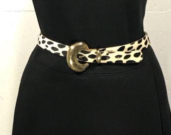 80s faux animal print leather tacky gold belt buckle leopard print leather retro belt faux animal print belt