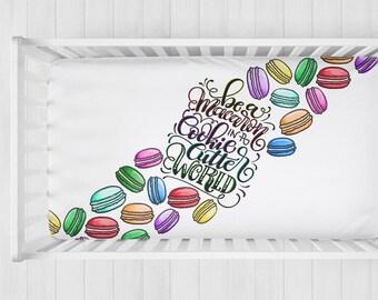 SALE! Organic cotton crib sheet - Be a macaron in a cookie cutter world