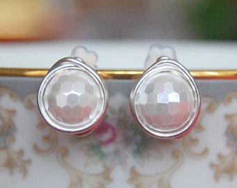 Pearl Studs , Faceted Pearl Earrings , June Birthstone Earrings , Shell Pearl Earrings , White Pearl Studs