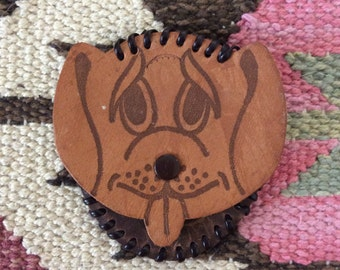 1970's Leather Dog Head Coin Purse