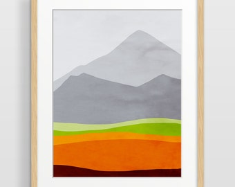 Mountain Print, Mid Century Modern Art, Abstract Wall Art, Scandinavian Art, Gift for Him, Abstract Landscape, Orange Wall Decor