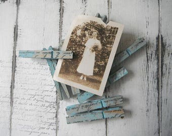 painted pegs cottage decor chippy blue pegs wedding favour  shabby and chic clothing pins weathered pegs rustic pegs hand stamped 8 pack
