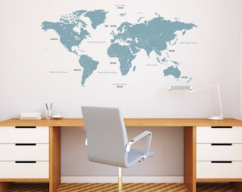 Decowall,DL-1509B,The World Wall Stickers_Blue