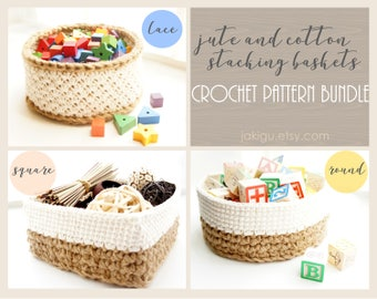 Crochet Pattern Bundle - Discount - Round, Square and Lace Jute and Cotton Stacking Basket Sets