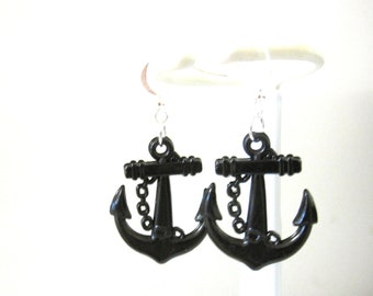 Anchor Earrings Nautical Rockabilly Pin Up Earrings Black
