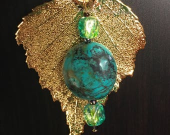 Chalk Turquiose & Gold Birch Leaf Pendant Necklace with Light Green and Aqua Blue Faceted Glass Beads by Denise's Creations